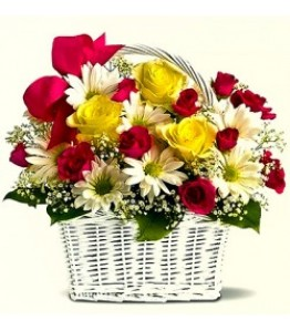 Mixed flowers in a basket