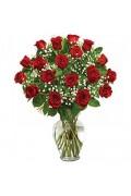 18 Red roses Glass Vase
