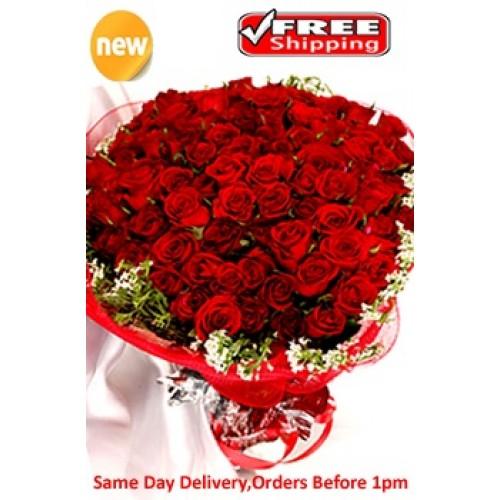 70 red roses bouquet. Black Bedroom Furniture Sets. Home Design Ideas